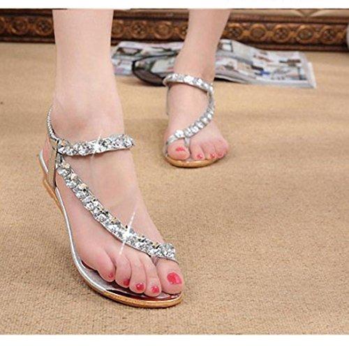 Chinelos Verão Sandálias Apartamentos Strass Mulheres 2 017 Prata De De Omiky® Plataforma Cunhas Sapatos qpFPBxPw