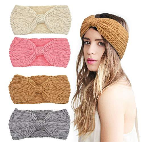 DRESHOW 4 Stück Damen Schleife Design Stirnband, 4 Pack Crochet Knot B: Pink, Ivory, Khaki, Grey, Einheitsgröße -
