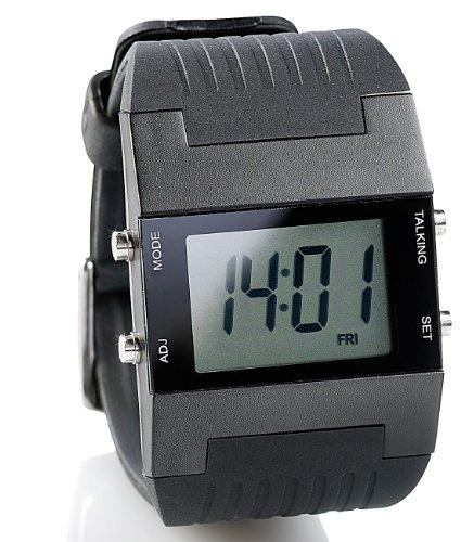 ST. Leonhard NC7190 sprechende Herren-Armbanduhr mit Weckfunktion ,Schwarz