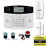 ALARMAS PARA CASAS SIN CUOTAS GSM AZ028. Facil de instalar. Detector de movimiento sin cables y sensor de apertura. Incluye 2 mandos y sirena