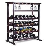 COSTWAY Cantinetta Portabottiglie Scaffale per Vino con Portabicchiere in Legno da 24 Bottiglie, Marrone Scuro, 80 x 41,5 x 90,5 cm