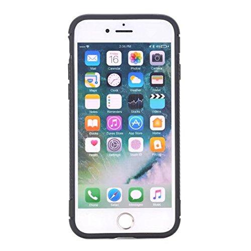 EKINHUI Case Cover Ultra Slim Carbon Fibre Button Desing Shockproof Hard Back Cover 360 ° Ganzkörper Schutz TPU Case Cover für iPhone 7 Plus ( Color : Blue ) Black