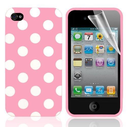iPhone 4/4S serie a pois morbido gel di pelle 4G con display Prortector --- rosa chiaro/bianco