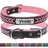 Vcalabashor Hundehalsband mit NaVcalabashormen und Telefonnummer,Hundehalsband Anh?nger mit Gravur,Hundehalsband Leder,XS 23.5-30cm,Pink