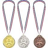 3 Piezas de Medalla de Ganador de Metal de Estilo de Antorcha Dorado Plateado Bronce para Niños