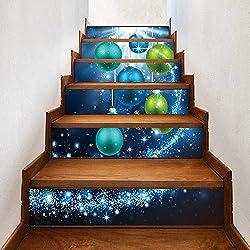 MU Autocollants d'escaliers de sécurité 6Pcs de sécurité résistant à l'usure, Autocollant de Plancher Home Decor 3D Christmas Bells Autocollants de PVC Autocollant de Plancher imperméable Auto-adhési