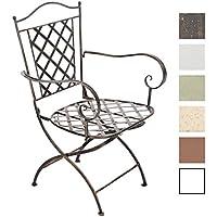CLP Silla de Jardín ADARA en Hierro forjado | Silla Metálica con Reposabrazos | Silla de Metal para Exteriores Estilo Medieval | Color bronce