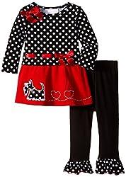 Bonnie Jean Girls Red Black Drop Waist Scottie Dog Dress + Leggings 12-18-24 Month