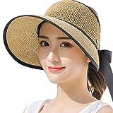 FLQL Damen Sonnenhüte Das Loch Für Einen Pferdeschwanz Strohhut Mit Sonnenschutz Breite Krempe Sonnenschutz UV-Schutz Sonnenschirm Kleiner Frischer Strand Badeurlaub