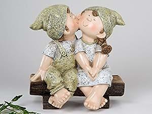 Deko Figur ' Sommerkinder auf Bank', 28 cm, creme-grün