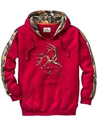Legendario Whitetails hombre Realtree Camuflaje Casual cuello de pico Outfitter sudadera con capucha, Cardinal