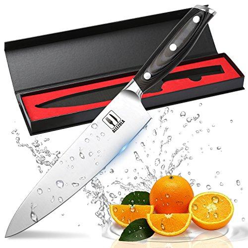 Allezola Professionelle 19 cm Kochmesser, Gemüsemesser, Chefmesser, Allzweckmesser, aus hochwertigem Carbon Edelstahl mit Scharfer Klinge und Ergonomischem Griff