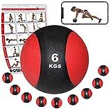 Medizinball Gewichtsball von POWRX 1 - 10 kg | Schwarz / Rot (6 kg)