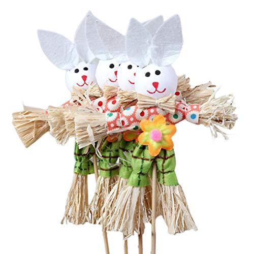 Amosfun paglia bunny fatti a mano materiale bambino carino divertente materiale a mano per bambino bambino 3pcs (colore casuale)
