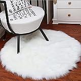 Weiche Schaffell Teppich Stuhlabdeckung Künstlicher Wollwarmer haariger Teppich Sitz Teppich Flauschig Nachahmung Wolle Teppich Longhair Fell Optik Gemütliches Bettvorleger Sofa Matte(Weiß,45 x 45 cm)