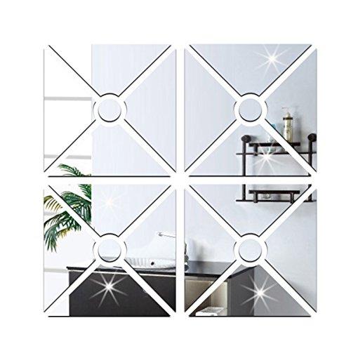 Acryl Wandaufkleber Wohnzimmer Sofa TV Hintergrund Wand Dekoration Geometrische Figur Combo Stereo Aufkleber,Silver-50*50cm (Decke-wand-combo)