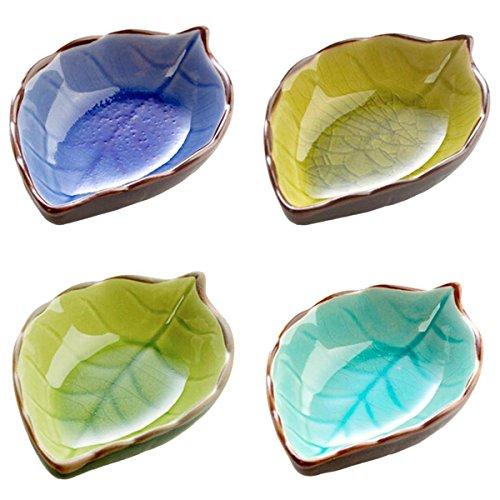 PETSOLA Hotel Restaurant Weinlese Blatt Form Keramische Würze Relish Dish Bowl 4pcs Relish Dish Bowl
