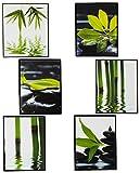 alles-meine.de GmbH 6 TLG. Set - Fliesensticker / Badezimmer / Wandtattoo - ECKIG - Bambus / Wellness & SPA - Steine - Sand Wasser - Fliesensticker / Badezimmer - Panorama Poster..