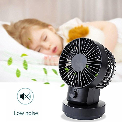 GloryShine USB Mini Fan 2 Speed Modi Dual Blades Mini Desk Fan Oszillierende Tisch Lüfter USB Fan Einstellbare Small Personal Fan (Schwarz)