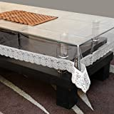 STITCHNEST Table Cover Transparent 4 Seater, Rectangle, Silver Lace - 3 inch, Pack of 1