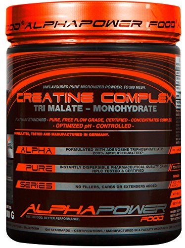 ALPHAPOWER FOOD® - ALPHAPURE® SERIES: TRI-CREATINE MALATE COMPLEX, 100% PURE MICRONIZED POWDER TO >200 MESH - FREE FLOW GRADE / CREATIN MATRIX PULVER (1x 300g Pulver (Dose, Abbildung 1) für 60 Anwendungen / 60 Servings Pure mikronisierter Kreatin Apfelsäure Komplex