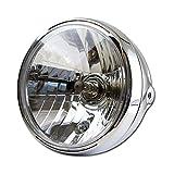 Motorrad Scheinwerfer 7, New Nevo, Klarglas, chrom, H4, Prismenreflektor, M8 seitlich, E-geprüft /Stück