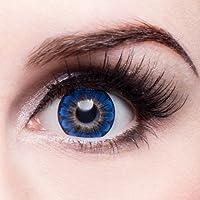 matlens–EOS colorate lenti a contatto senza gradazione Saphierblau Sapphire Big Eyes Daisy 3T 2lenti 1contenitore lenti a contatto 1detergente 50ml FBA