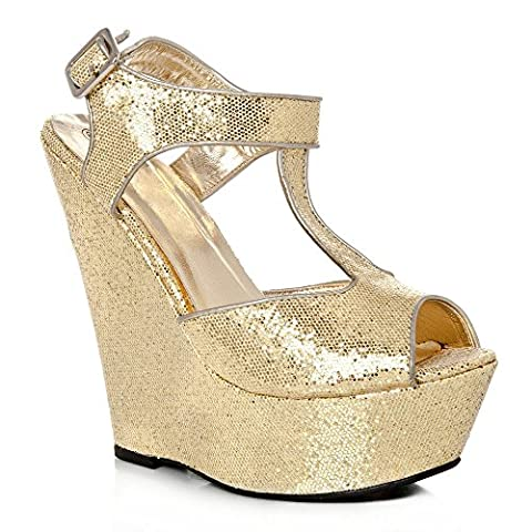 Womens Wedge Heel Sandals Glittery Platform Peep Toe T-Bar Wedge