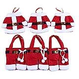 Nicedeal 3 Sets Weihnachtsgeschirr Abdeckung Kreative Tisch-Vliesstoff Kleidung und Hosen Bestecktaschen Weihnachtsbedarf für Messer und Gabeln Zuhause Küchenutensilien Gebäckform