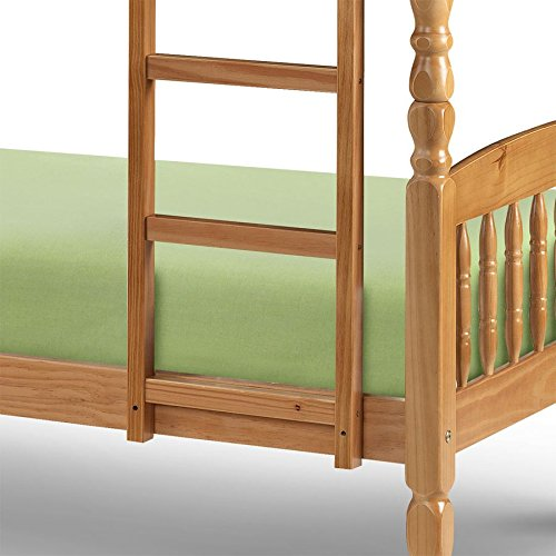 "Happy Beds Lincoln Two Sleeper 2'6"" Small Single Solid Pine Wood Bunk Bed With 2x Luxury Spring Mattresses"
