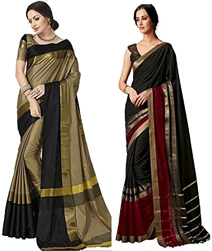 Indira Designer Women's Art Cotton Blend With Blouse Combo OF 02 Sarees