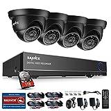 SANNCE Überwachungskamera Set System Videoüberwachung CCTV 4-Kanal 720P 1MP AHD DVR Rekorder Überwachungskamera Outdoor Dome kameras mit 4 720P Innen/Außen IR Nachtsicht Bewegungsmelder(1TB HDD)