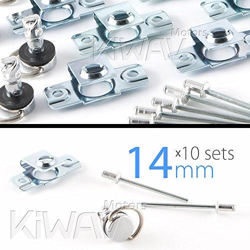 KIT 10-tlg. 14 mm Schnelle Freigabe Verkleidungsschrauben Verschluss chrom rivet