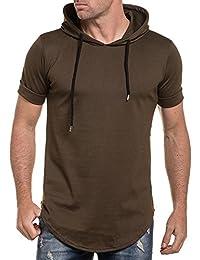 Celebry tees - T-shirt kaki uni oversize rond à capuche