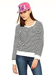 Vvoguish White/Black Striped Sweatshirt-VVSWTSHRT942WHTBLK-S