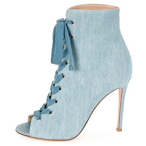 ENMAYER Femmes Suede Matériaux Cheville Bottes Talons Hauts Peep Toe Cross-Tied Chaussures Bleu