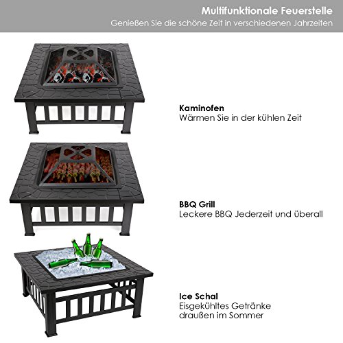 Femor Garten Feuerschale Quadratisch Metall Feuerstelle Terassenofen - 2