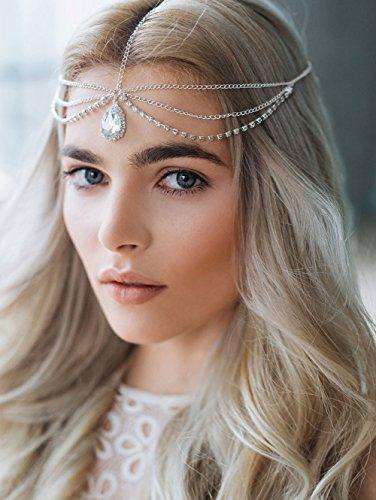 FXmimior Schmuck-Stirnband für Halloween, Hochzeiten, Brautschmuck, Kristallschmuck, Boho-Stirnband, Griechische Kette mit Blumenmotiv, Haarschmuck, Bollywoodschmuck