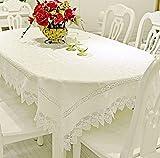 Mode Schnitt weiß Tischdecke und Spitze Deckel Gerät Tischdecke Tuch Mobile TV Desk Hintergründe Haushaltsgeräte Lace Schleppe 150x200cm(59x79inch) A