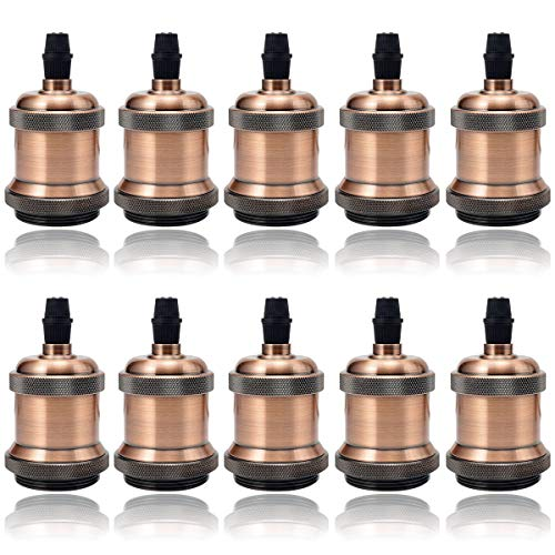 Preisvergleich Produktbild GreenSun LED Lighting 10er Vintage Lampenfassung Industrie Look E27 Fassung Edison Sockel Retro Pendelleuchte Adapter Metall Look DIY Lampenzubehör,  Rot Antique Brass