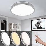 12W Farbwechsel Led Deckenleuchte Farbton einstellbar Wohnzimmer Lampe Deckenlampe fur Schlafzimmer Vernickelung Rund 3in1 Farbwechselfunktion Deckenbeleuchtung