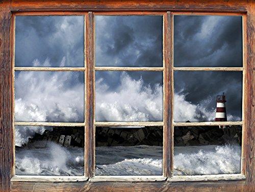 Raging mare con il faro, la finestra adesivi murali 3D Formato: Decorazione della parete 62x42cm 3D adesivi da parete decalcomanie