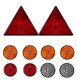 10 TLG. DKB Reflektor - Set Rückstrahler - Set für PKW - Anhänger Dreieck und Rund