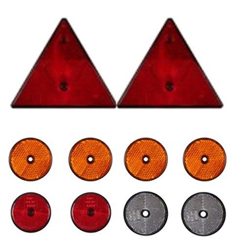 Preisvergleich Produktbild 10 tlg. DKB Reflektor - Set Rückstrahler - Set für PKW - Anhänger Dreieck und Rund
