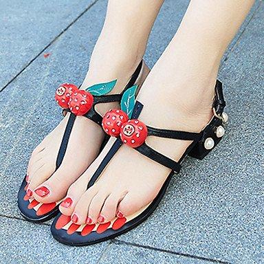 Sandálias-ocasional-pu-plano Lvyuan Heel Conforto-preto Preto Vermelho