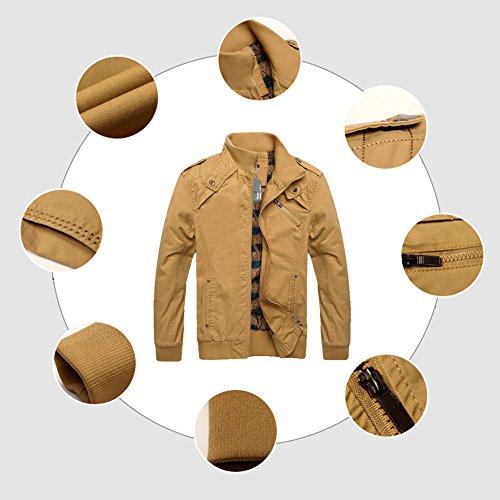Zicac Herren Jacke Herren Wintermantel Herren Winter-Jacke mit Reißverschluss Männer Mantel für Herbst Warmer Mantel langes Jacket Ideal für Herbst Khaki