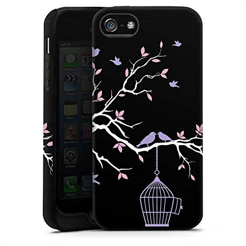 Apple iPhone X Silikon Hülle Case Schutzhülle Blüten Freiheit Vögel Tough Case matt
