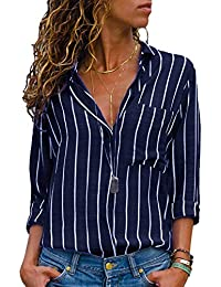 6badf7a6a3006 AitosuLa Chemisier Femme Blouse Rayures Col V Casual Mode Tunique Haut Top  Shirt Manche Longue