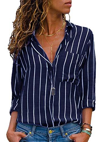 AitosuLa Bluse Gestreift Damen Hemd Oberteile V-Ausschnitt Lose Casual Chiffon Langarm T-Shirt Top Tunika Elegant Langarmshirt Streifen Schwarz Weiß XXXL