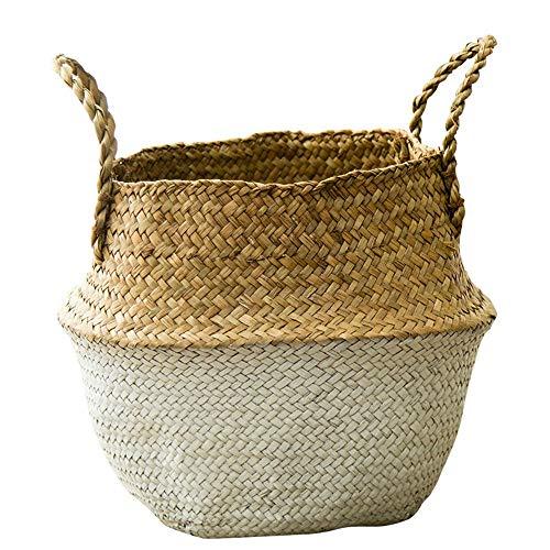 LY/WEY Seagrass Wickerwork Basket Rattan Foldable Hanging Flower Pot Planter Woven Dirty Laundry Hamper Storage Basket Holder,White